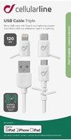 Kabel CELLULARLINE, trostruki, MFI + mUSB + USB-C na USB, 100cm, bijeli