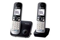 Telefon PANASONIC KX-TG6812FXB, bežični, crni, 2 slušalice