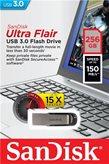 Memorija USB 3.0 FLASH DRIVE, 256 GB, SANDISK Ultra Flair, SDCZ73-256G-G46