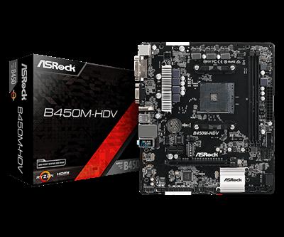 Matična ploča ASROCK B450M-HDV, AMD B450, mATX, s. AM4
