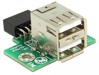 Adapter DELOCK, 9-pin USB Pin Header (Ž) na 2 x USB 2.0 (Ž), interni