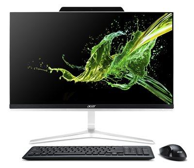 """Računalo AiO Acer Aspire Z24-890 DQ.BCFEX.003 / Quad Core i3 8100T, 8GB, 1000GB, HD Graphics, 23.8"""" FHD, tipkovnica, miš, Linux, srebrno"""