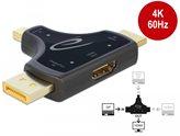 Adapter DELOCK, HDMI (M)/DP (M)/mDP (M) na HDMI (Ž), 4K 60 Hz