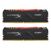 Memorija PC-19200, 16 GB, KINGSTON HX424C15FB3AK2/16 HyperX Fury, RGB, DDR4 2400MHz, kit 2x8GB