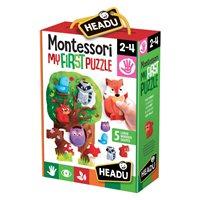 Slagalica HEADU Montessori, Moja prva slagalica, 6 velikih slagalica i 5 drvenih životinja