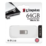 Memorija USB 3.1 FLASH DRIVE, 64 GB, KINGSTON DataTraveler Micro 3.1, DTMC3/64GB, srebrna