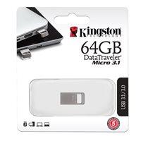 Memorija USB 3.1 FLASH DRIVE, 64 GB, KINGSTON DataTraveler Micro 3.1, DTMC3/64GB, srebrna
