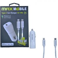 Auto punjač MAXMOBILE, SC-198 QC 3.0, Quick Charge 3A, SET 2U1 TYPE C+KABEL,MFI Apple SC198