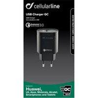 Kućni punjač CELLULARLINE, QC 3.0, crni
