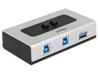 Razdjelnik USB 3.0 DELOCK, dvosmjerni, 2x USB-B (Ž), USB-A (Ž)
