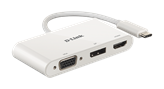 Docking station D-LINK DUB-V310, USB-C na 1x DP, 1x VGA, 1x HDMI, za notebook