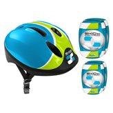 Dječja zaštitna kaciga STAMP Skids + štitnici za laktove i koljena plava