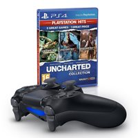 Gamepad SONY PlayStation 4, DualShock 4 v2, bežični, crni + Igra za SONY PlayStation 4, Uncharted Collection HITS