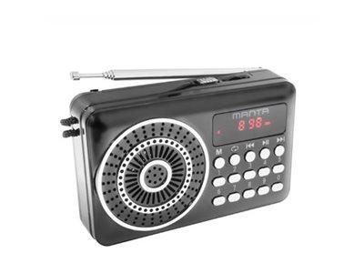 Radio prijemnik MANTA RDI108, radio FM, USB, microSD, DC, baterija, LCD zaslon, crni