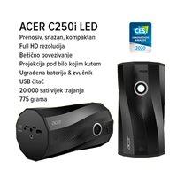 Projektor DLP ACER C250i, 1920 x 1080, 300 ANSI lumena, 5000:1, HDMI, USB 2.0, crni + WiFi