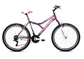 Dječji bicikl CAPRIOLO MTB DIAVOLO 600, vel.19˝, kotači 26˝, sivo/rozi
