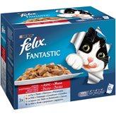 Hrana za mačke PURINA Felix Multipack, 3x piletina, 3x govedina, 3x janjetina, 3x zečetina, 12x100g, za odrasle mačke