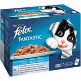 Hrana za mačke PURINA Felix Multipack, 3x tuna, 3x losos, 3x bakalar, 3x morski list, 12x100g, za odrasle mačke