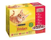 Hrana za mačke PURINA Friskies Multipack, 3x piletina, 3x govedina, 3x janjetina, 3x patka, 12x85g, za odrasle i sterilizirane mačke