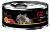 Hrana za mačke ALPHA SPIRIT, govedina/dinja, 0,085kg, za odrasle mačke