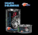 Pašteta za pse ALPHA SPIRIT Monoprotein, losos/borovnica, 0,4kg