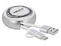 Kabel DELOCK, USB 2.0, USB-A (M) na USB micro-B i USB-C (M), uvalčni, srebrni, 0.92 m