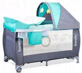 Dječji krevetić LIONELO, Sven PLUS siva-tirkiz, za djecu do 15Kg