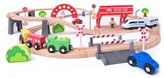 Drveni Vlak set sa viaduktom i lokomotivom