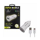 Auto punjač MAXMOBILE, SC-106 QC 3.0,Quick Charge 3A, bijeli + USB-C kabel