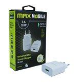 Kućni punjač MAXMOBILE QC3.0 TR207, USB, 3A, bijeli