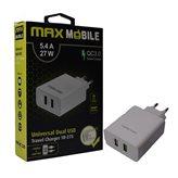 Kućni punjač MAXMOBILE TR-275 Dual, 5.4A, Quick Charge 3.0, bijeli