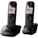 Telefon PANASONIC KX-TG 2512T, dvije slušalice, bežični, crni