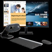 "Monitor 32"" SAMSUNG M7 Smart LS32AM700URXEN, 4K UHD, 250cd/m2, 3000:1, USB-C, crni + Tipkovnica + miš LOGITECH MK470 + Web kamera LOGITECH C270"
