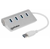 USB HUB MANHATTAN, 4-portni USB 3.0, metalno kućište, srebrni