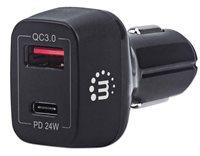 Auto punjač MANHATTAN 42W, USB-C PD, USB QC 3.0, crni
