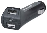 Auto punjač MANHATTAN PopCharge Auto Duo, 2x USB 2.0, crni
