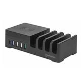 Kućni punjač MANHATTAN Charging Station 55W, Qi bežično punjenje, USB-C PD 3.0, 4x USB, crni