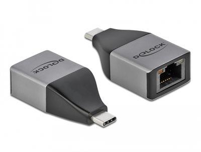 Adapter DELOCK, USB-C(M) na RJ45 (Ž) 10/100/1000, sivi