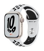 Pametni sat Apple Watch S7 GPS, 41mm Starlight Aluminium Case with Pure Platinum/Black Nike Sport Band - Regular - preorder